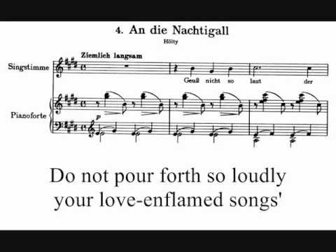 Brahms, An die Nachtigall, op. 46 n. 4 (1868), with score and subtitles